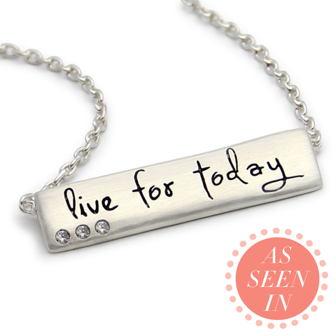 live for today inspirational sterling silver necklace, message jewelry, LifeNotes®