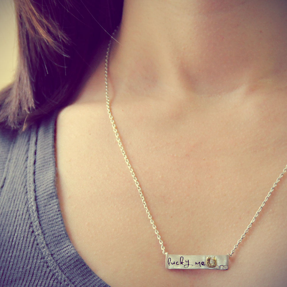 Lucky Me Inspirational Necklace, LifeNotes® Motivational Jewelry, jenny present®