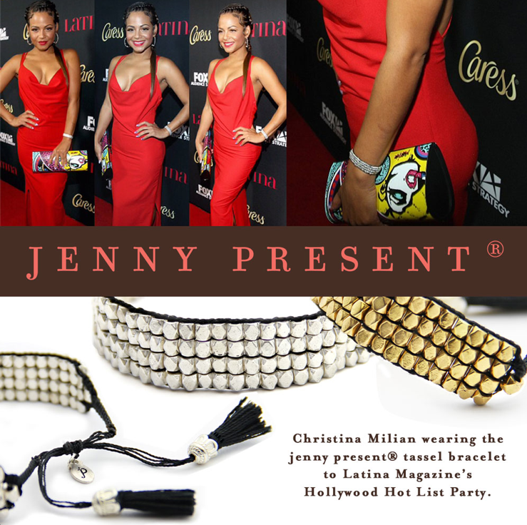 jenny present® jewelry as seen on celebrity Christina Milian, adjustable tassel bracelet