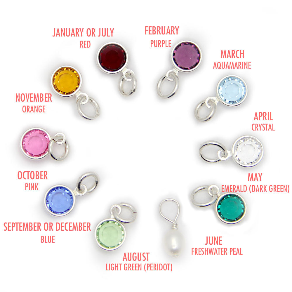 crystal color option, Swarovski crystal colors, birthstone options, jenny present®, add on charms