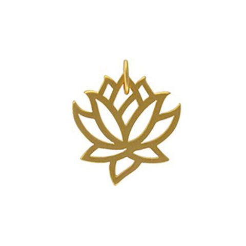 gold lotus flower charm, rebirth, tranquility jewelry, design your own personalized jewelry, jenny present®