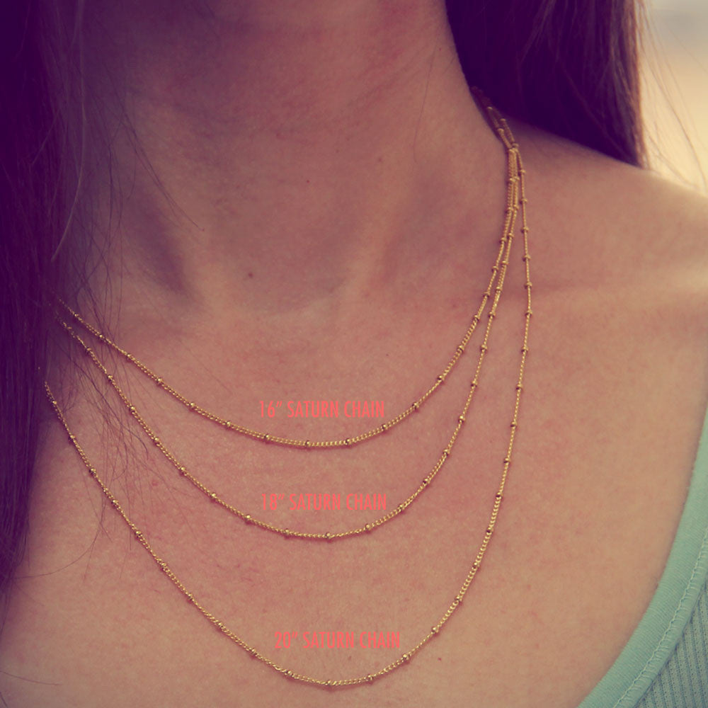 gold saturn chain length options, gold saturn chain necklace add on, design your own, jenny present®