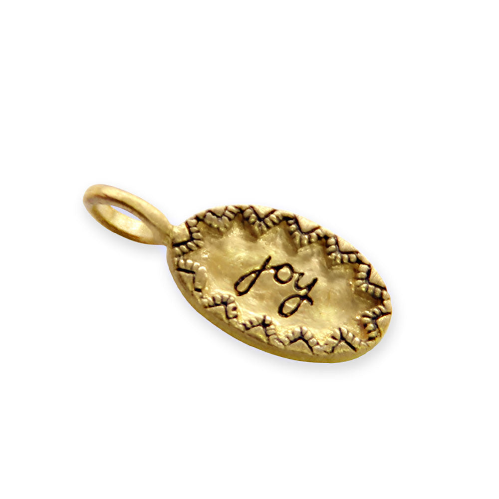 gold joy charm, tiny LifeNotes® inspirational message jewelry, jenny present®