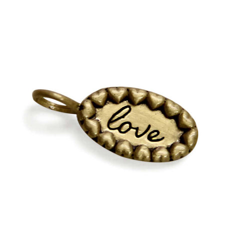 gold love charm, tiny LifeNotes® inspirational message jewelry, jenny present®