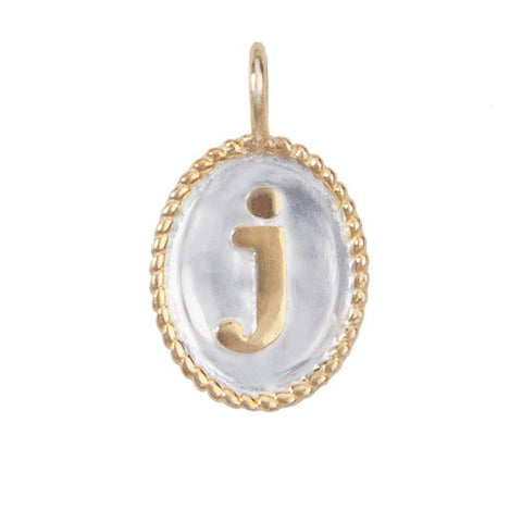 initial charm, mixed metal gold and silver pendant, jenny present® jewelry