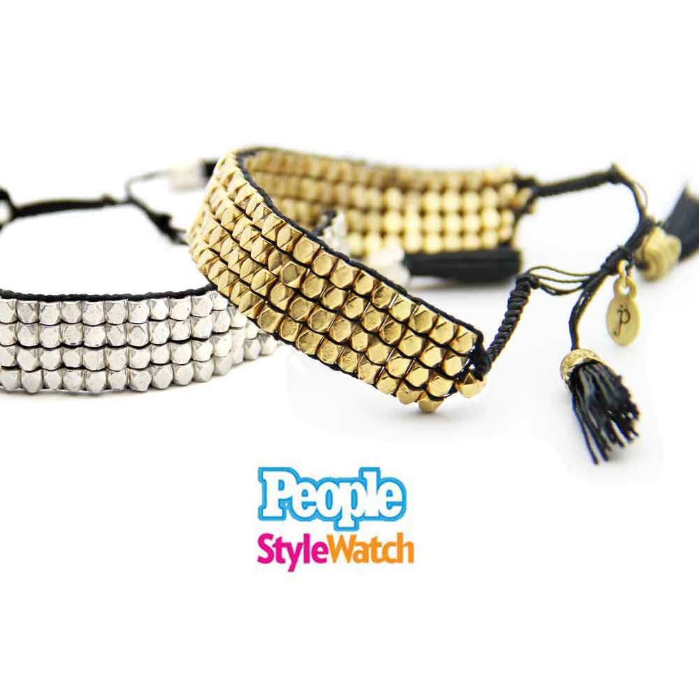 gold and black handmade beaded macrame tassel bracelet, friendship bracelet, as seen in PEOPLE StyleWatch jenny present®