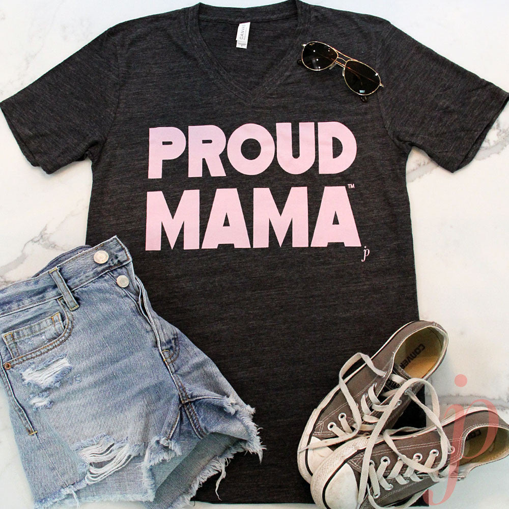 Mama Shirts, Proud Mama® T-Shirt, Charcoal Black, Short Sleeve, V-Neck, jenny present®