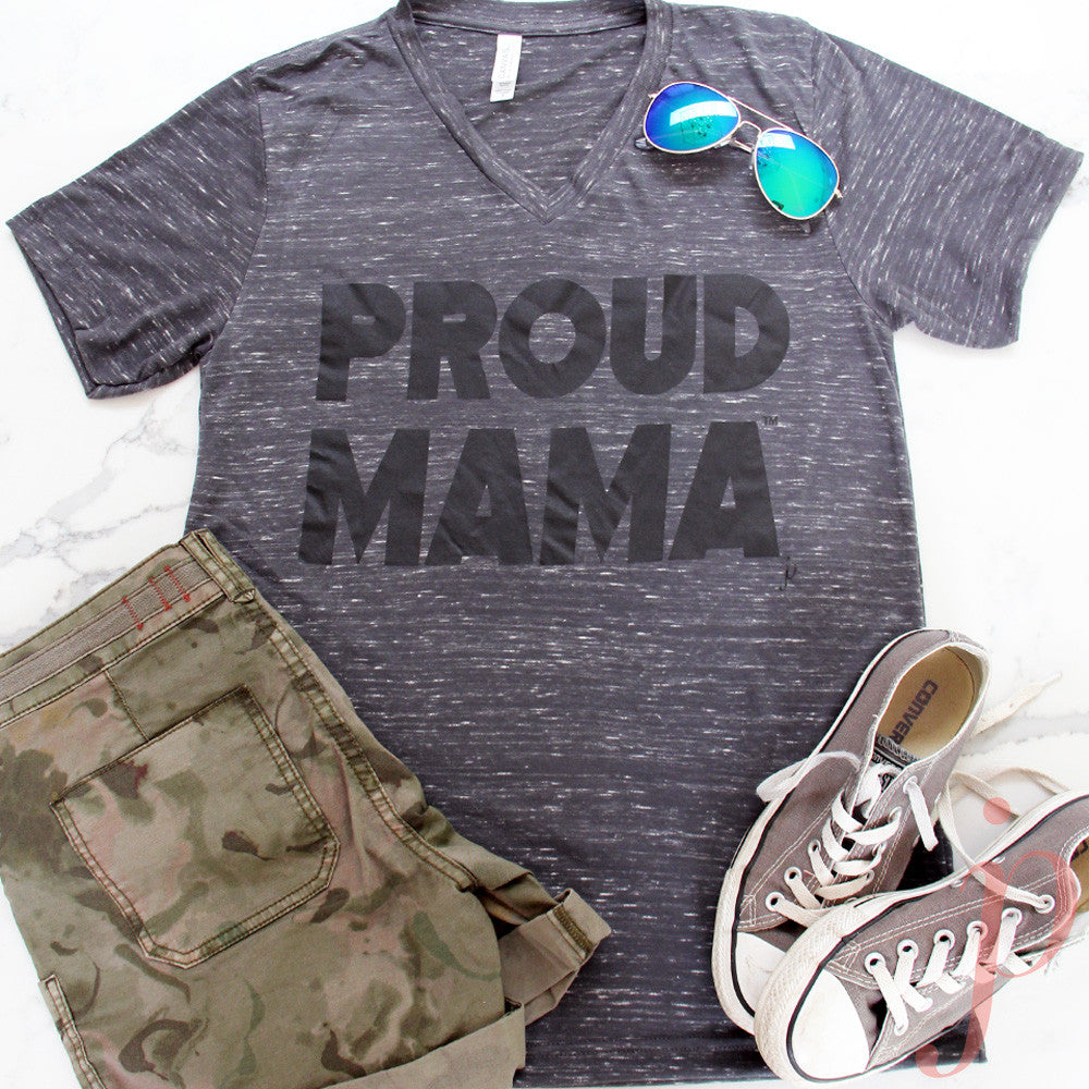Mama shirts, Proud Mama® T-Shirt, Charcoal Grey, Short Sleeve, V-Neck, jenny present®
