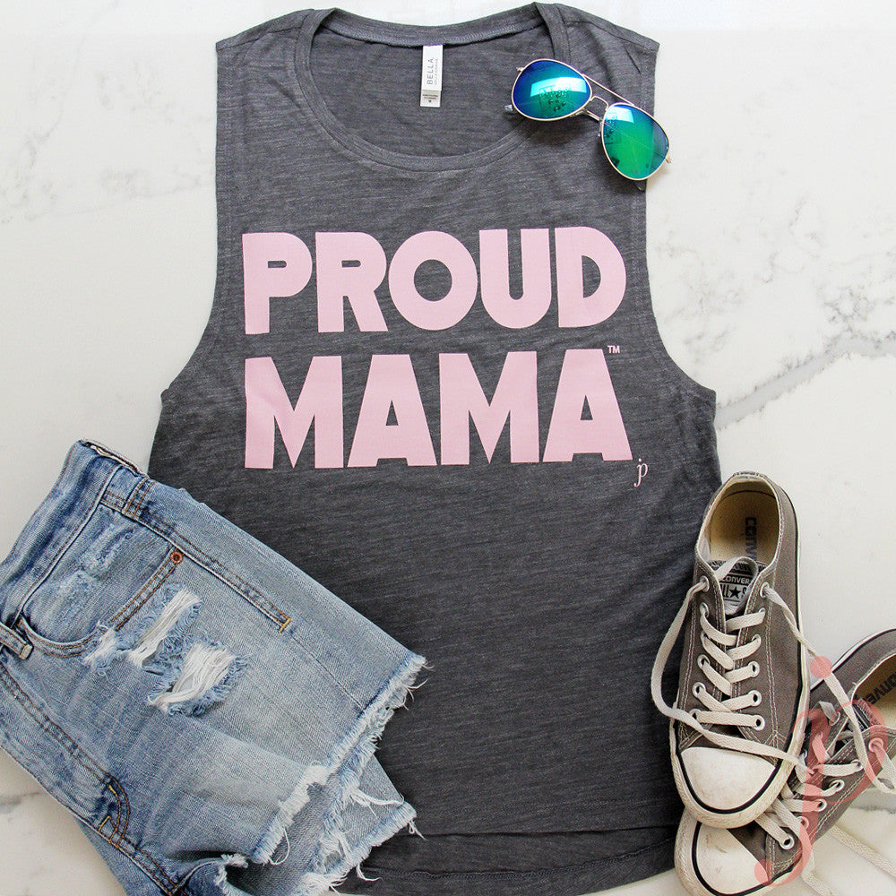 Proud Mama™ T-Shirt, Muscle Tank, Grey, mama shirts