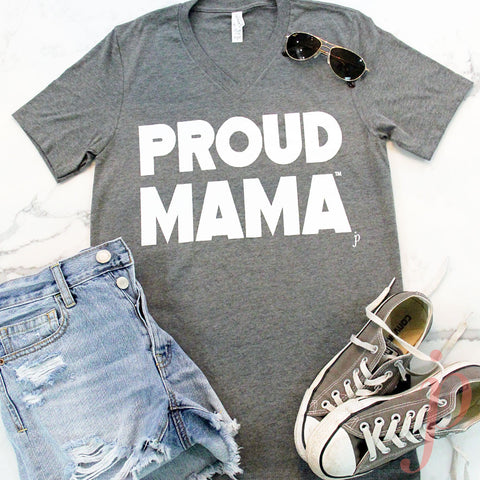 Mama Shirts, Proud Mama™ T-Shirt, Heather Grey, Gray T-Shirt, Short Sleeve, V-Neck, graphic t-shirts