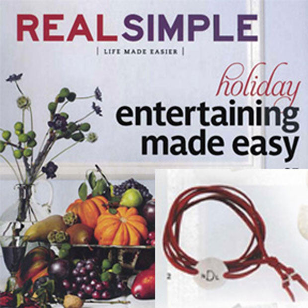 jenny present® suede wrap bracelet as seen in RealSimple Magazine, hand stamped