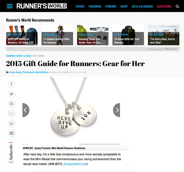 as seen in runners world, running jewelry, silver never give up necklace, personalized hand stamped, jenny present®