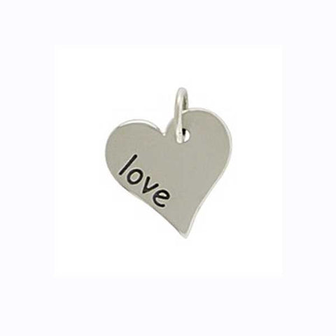 silver love heart charm, love charm, heart pendant, personalized love jewelry, jenny present®