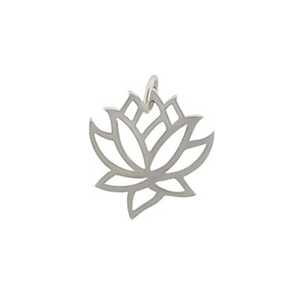 sterling silver lotus charm, lotus pendant, design your own charm necklace, jenny present®