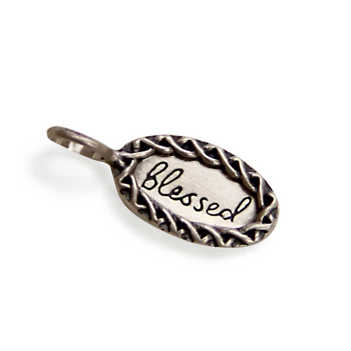 sterling silver blessed charm, tiny LifeNotes® inspirational message jewelry, jenny present®