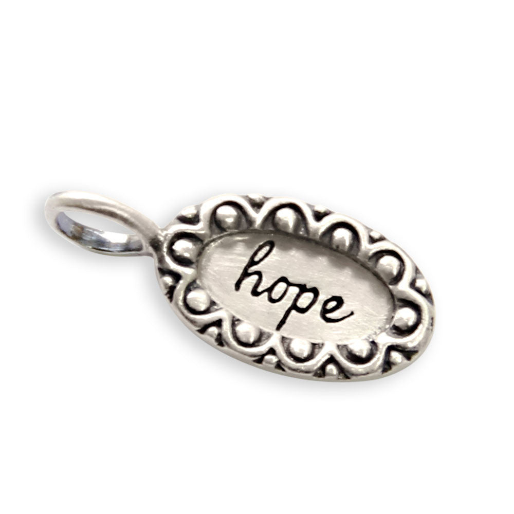 sterling silver love charm, tiny LifeNotes® inspirational message jewelry, jenny present®