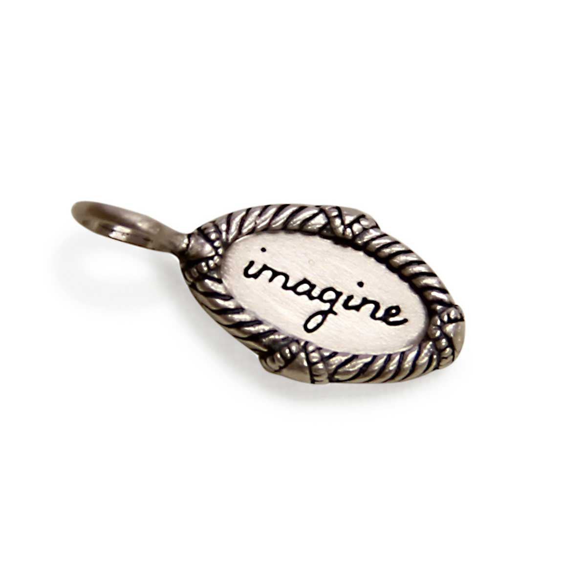 silver imagine charm, tiny LifeNotes® inspirational message jewelry, jenny present®