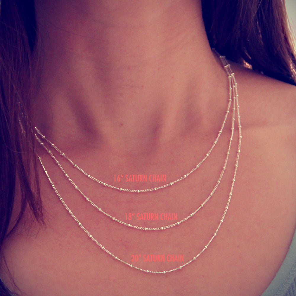 silver saturn chain length options, silver chain add on, design your own necklace, jenny present®