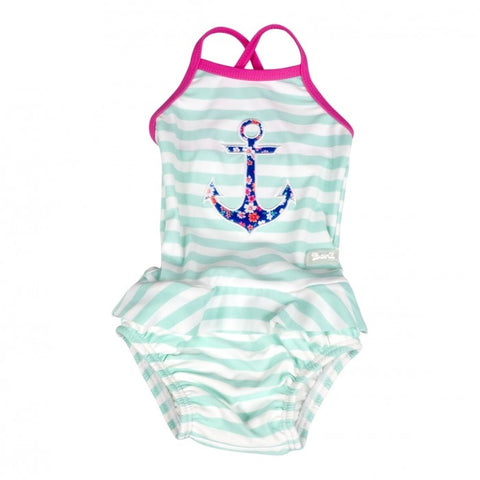 Baby Banz Girls 1pc Anchor Swimsuit - Frilly