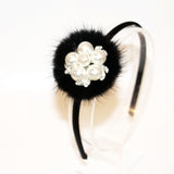Babies and Bows Pearl and Fur Headband - Anabelle