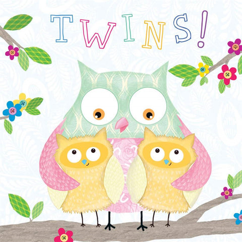 Tracks Baby Congrats Twins Card