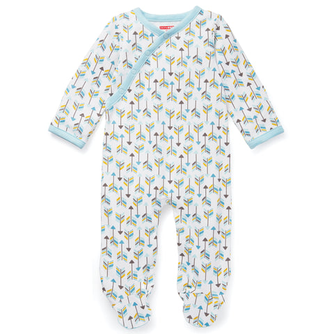 Skiphop Layette Boho Feathers Footie - Blue