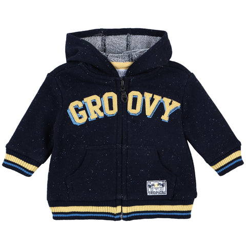 Petit Lem Baby Hooded Sweatshirt Knit - Groovy