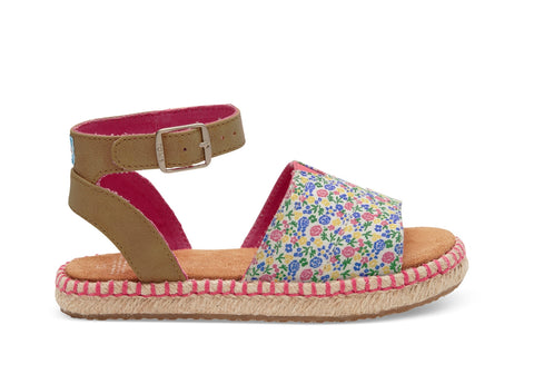 Toms Fuchsia Multi Floral Youth Malea Sandals