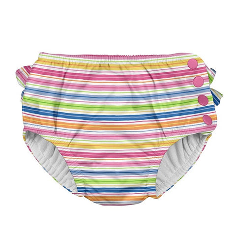 iPlay Mix & Match Ruffle Snap Reusable Absorbent Swimsuit Diaper - Pink Wavy Stripe
