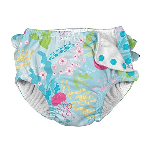 iPlay Fun Ruffle Snap Reusable Swim Diaper - Aqua Coral Reef