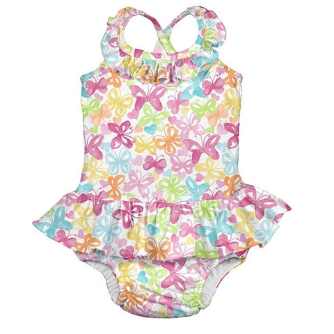 iPlay Tropical 1pc Ruffle Swimsuit w/ Built-in Reusable Absorbent Swim Diaper - White Butterfly