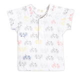 Aden + Anais Layette Short Sleeve Henley T-Shirt - Cycles