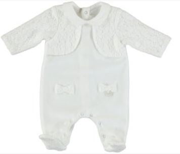 Mayoral Romper with Cardigan - 2.607, Natural