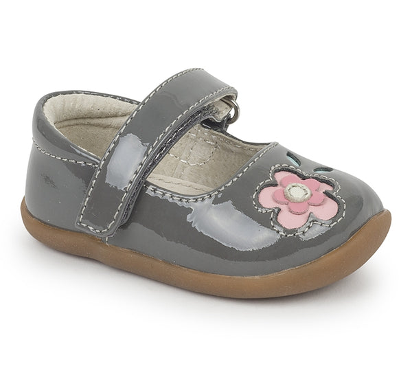 See Kai Run First Walker Shoes Stella - Grey Patent