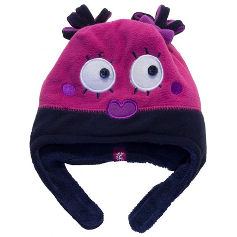 Calikids Girls Monster Hat - Navy/Fuschia