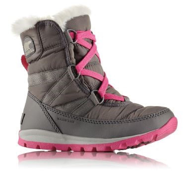 Sorel Childrens Boot - Whitney Short Lace - Quarry/Pink Ice