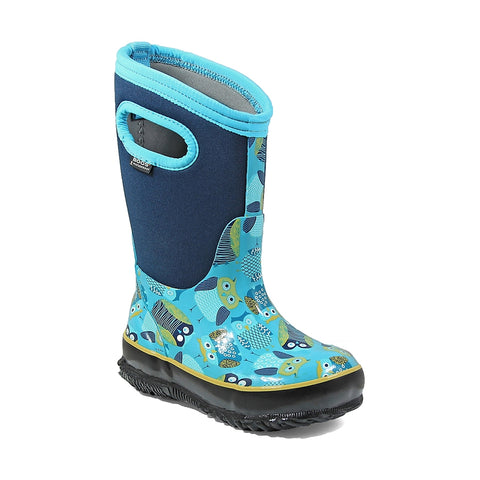 Bogs Kids Insulated Boots Classic Owl - Blue Multi