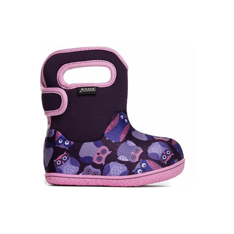 Bogs Baby Waterproof Boots Owls - Purple Multi