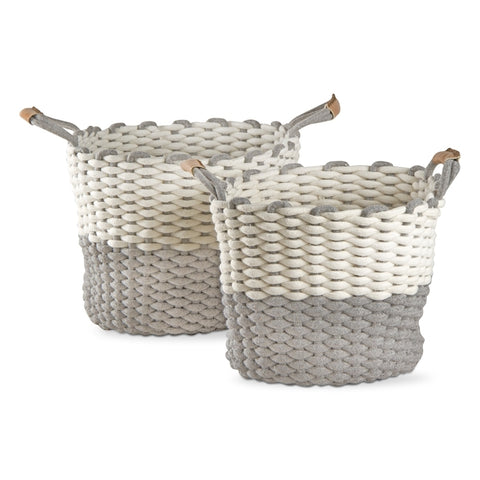 Tag Chunky Knit Cord Basket - Large