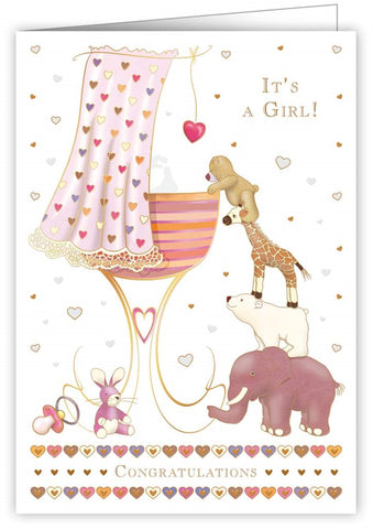 Quire Publishing Baby Girl Congratulations Card