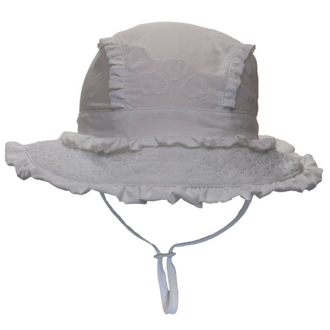 7a851ee15b1 Calikids Girls UV Quick Dry Hat - White