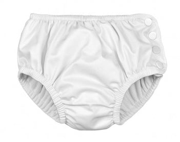 iPlay Snap Reusable Absorbent Swim Diaper - White