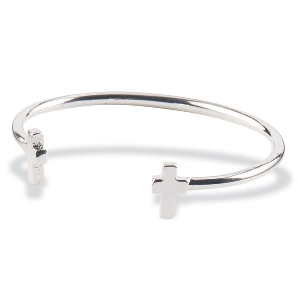 Mud Pie Sterling Silver Cross Cuff Bracelet