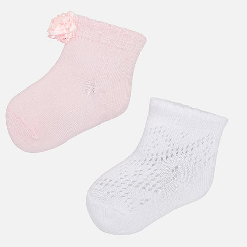 Mayoral Set of 2 Tricot Socks - 9.125, Rose
