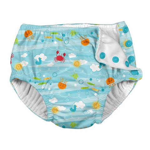 iPlay Snap Reusable Absorbent Swim Diaper - Light Aqua Sea Friends