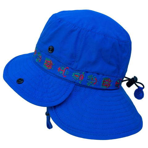 Calikids Boys Quick Dry Hat with Flap - Nautical Blue