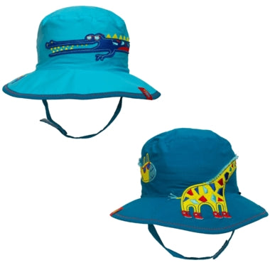 Calikids Boys Cotton Reversible Summer Hat - Crocodile/Giraffe