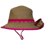 Calikids Girls Straw Hat - Raspberry Combo
