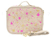 Linen-Fuchsia and Gold Splatter Lunch Box