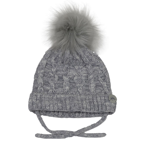 Calikids Cotton Cabled Knit Baby Hat - Cream/Grey Combo